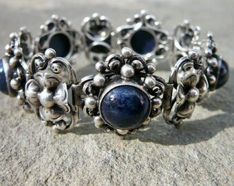 Copini Peruzzi Jewelry, Copini Peruzzi Bracelet, Lapis Bracelet, Panel Bracelet, Italian Silver Bracelet, 800 Silver, Renaissance Revival