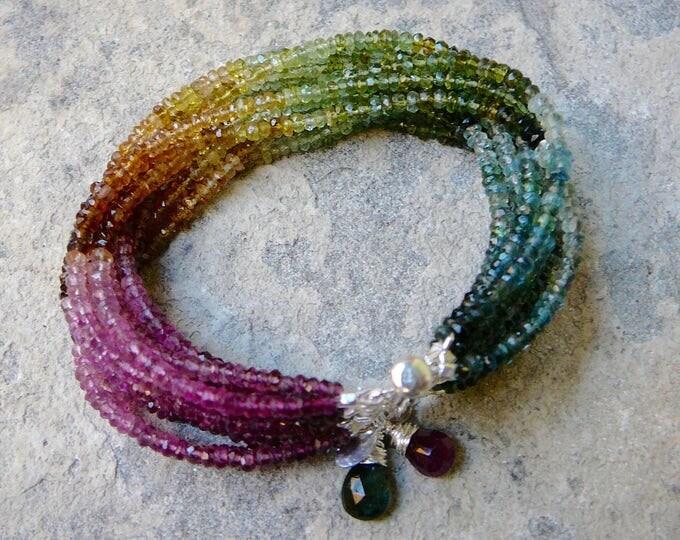 Featured listing image: Tourmaline, Gemstone Bracelet, Tourmaline Cuff Bracelet, Gemstones Bracelet, Tourmaline Multi Strand Bracelet, Rainbow Tourmaline