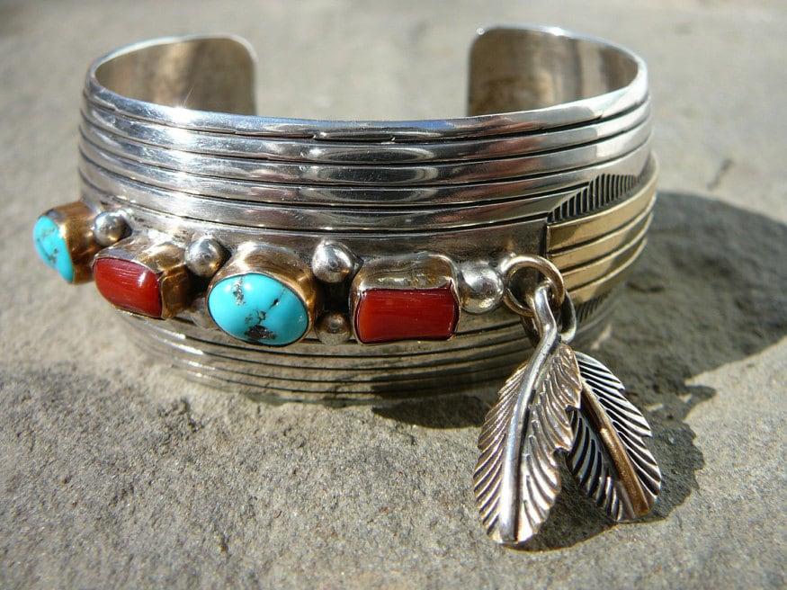 Native American Coral Bracelet, Red Coral Bracelet