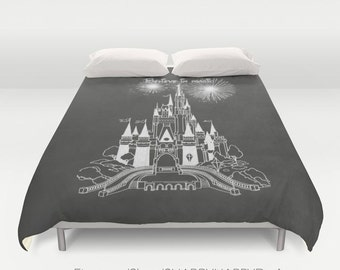 Believe in Magic Castle Chalk on Chalkboard Art  /Choose Duvet Cover or Comforter Bedding Art / Sizes Twin, XL Twin, Full, Queen, & King