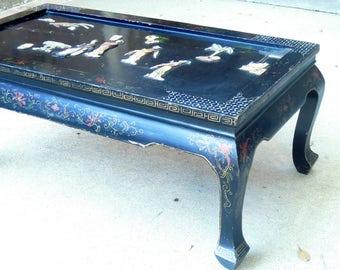 Vintage Chinoiserie Black Coffee Table