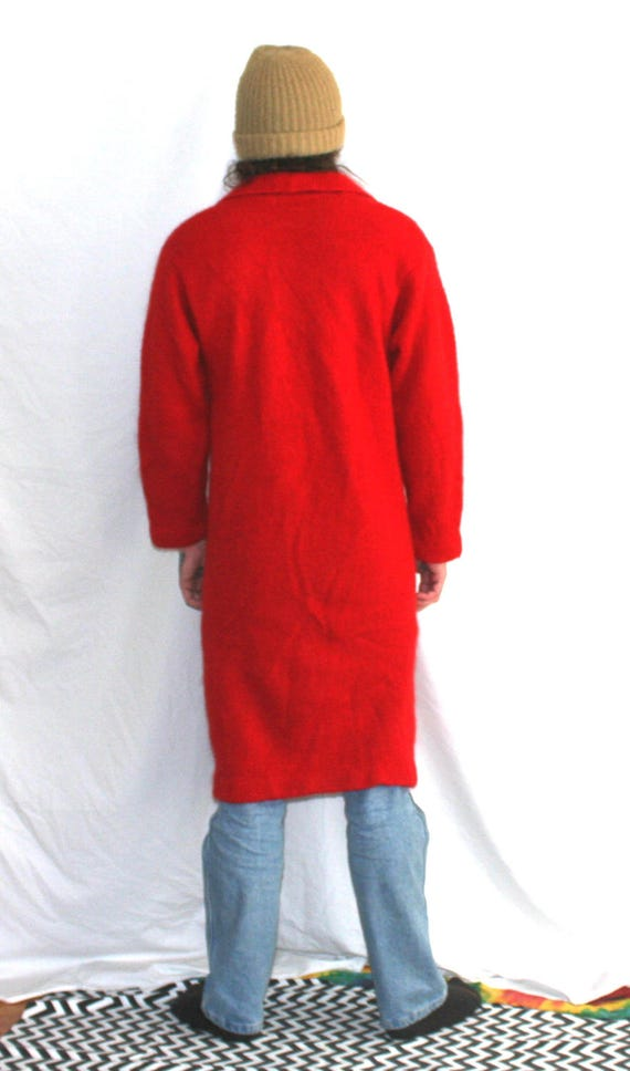 Vintage Extra Long Bright Red Cardigan Sweater Coat. Off White