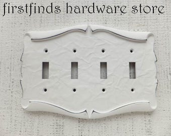 Switch Plate Quad Electrical Cover Light Shabby Chic White Electrical Vintage Metal Wall Hardware Four Parchment Scroll ITEM DETAILS BELOW