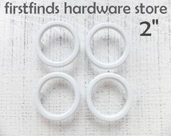 2 MCM White Circle Handles Painted Metal Furniture Hardware Mid Century Door Pulls Dresser Drawer Vintage Round 2inch ITEM DETAILS Below