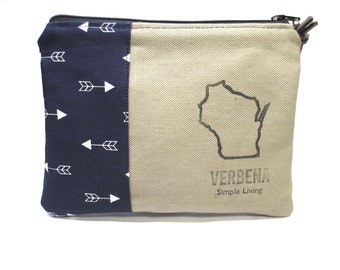 Hand Made Clutch / Hand Stamped with Wisconsin & Verbena Simple Living