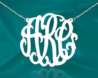 Monogram Necklace 1 1/2 inch Sterling Silver Handcrafted Personalized Initial Necklace - Made in USA