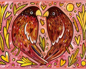 Love Birds Card - Love Day Card - Bird Card - A7 Greeting Card