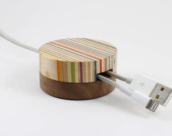 The No. 2 Cable Manager made from recycled skateboards.