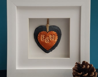 Couple Copper Heart Framed Ornament / Heart Slate Ornament / Framed Gift/ Gift for Couple / Valentines Day Gift for Girlfriend