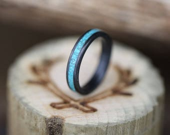 Fire-Treated Black Zirconium & Turquoise Stacking Wedding Band - Staghead Designs