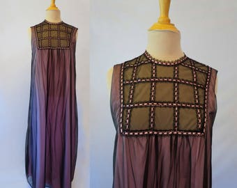 Long Pink and Black Nightgown