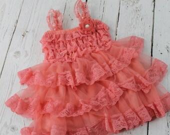 Coral Flower Girl Dress Rustic Flower Girl Dress Junior Jr Bridesmaid Dress Country Shabby Chic Wedding Lace Dress Lace Dress Cream Dress