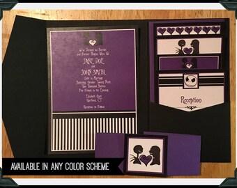 skellington wedding nightmare before christmas inspired pocketfold wedding invitation suite - Nightmare Before Christmas Wedding Invitations