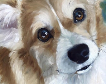 PRINT Pembroke Welsh Corgi / Mary Sparrow dog art pet portrait eyes