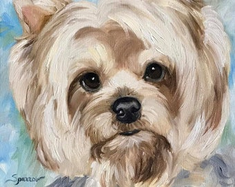 """PRINT of Yorkie, yorkshire Terrier """"Hello World"""" / Mary Sparrow of Hanging the Moon Dog art original"""