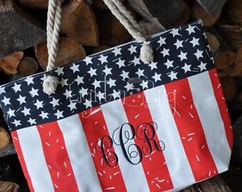SALE~~~~~~ Monogrammed Large Tote bag with rope handles