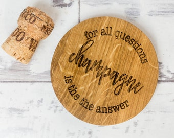 Champagne Coaster - Chocolate Coaster - Hurrah for Gin - Prosecco Gift - Gift For Her - Wooden Coaster - Drinks Coaster - Personalised Gifts