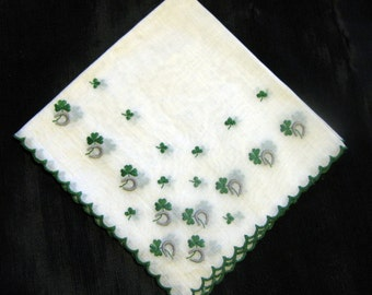 Irish Handkerchiefs Wedding, Lucky Shamrock Horse Shoe  Vintage Hankies