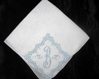 Monogram Handkerchief, Initial B, A, E, M or D Letter, Something Old Wedding Hankie