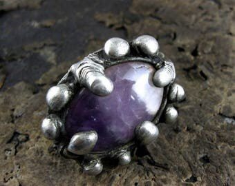 Huge AMETHYST Ring • oxidized silver ring raw stone jewelry