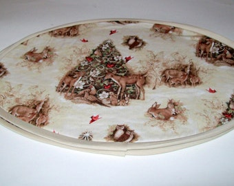 Handmade Christmas Deer Oval Placemats. Setting for 2