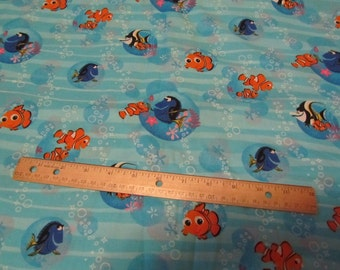 Blue Nemo/Dorie Bubbles/Waves Cotton Fabric by the Yard