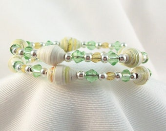 Memory Wire Bracelet - Girl, Tween and Teen - Handmade Paper Beads with Crystals and Silver Spacer Beads