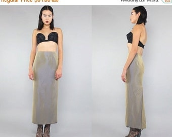 20%OFF Vtg 80s Gold Iridescent Minimal Pockets Maxi Skirt Gown S M