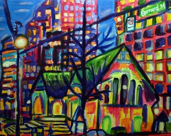 Art Print, Where Old Meets New, Colorful Vancouver City Art