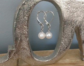 Sterling Silver Dangle Leverback Earrings with REAL white Akoya Pearls- Handmade