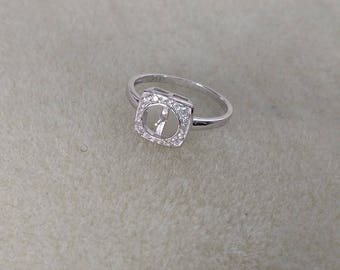 MADE to ORDER!!!! Sterling Silver Square CZ Ring-- Made to order with your pearl from the Pearl Party!!