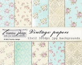 ON SALE Scrapbook Papers and Digital Paper Pack 18 -Vintage Shabby chic