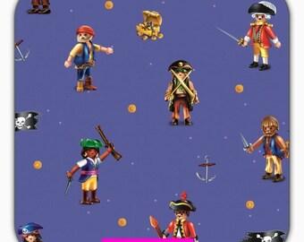 Cotton Jersey fabric, Playmobil, pirate, blue 50 cm