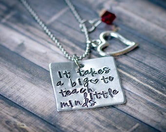 It takes a big heart to teach little minds necklace, Preschool teacher gift, teacher gift, kindergarten teacher gift