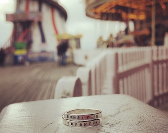 handstamped Lyric Ring 'Rumble in Brighton' Stray Cats, Sterling Silver -Adjustable