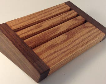 Solid Oak & Walnut Challenge Coin Display  Holds up to 12 Coins