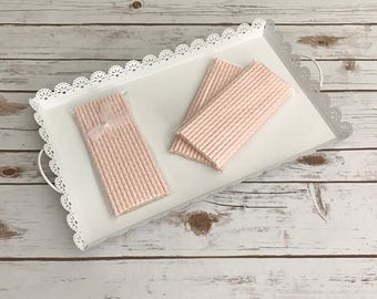 Light Pink Damask Paper Straws / Cake Pop Sticks - 25 Pieces