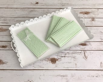 Mint Damask Paper Straws / Cake Pop Sticks - 25 Pieces