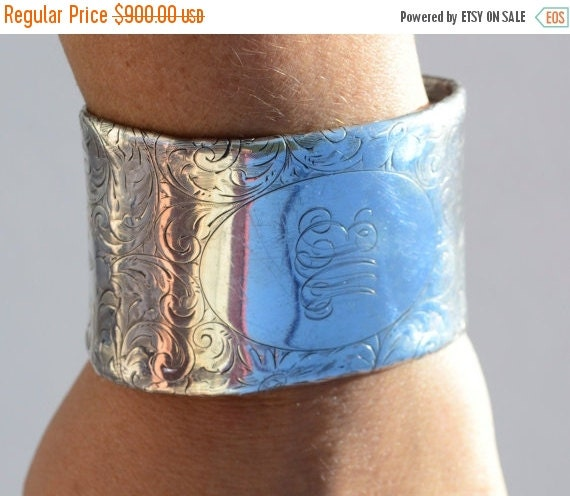SALE 40% OFF Antique Art Nouveau Solid Sterling Silver 925 Tiffany Floral Etched Repurposed Art Deco Chunky Shiny Unisex Extra Large Wide Cu