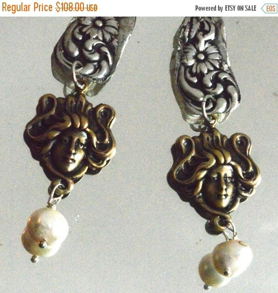 SALE 40% OFF Baroque Antique Victorian Solid Sterling Silver 925 .925 Brass Lady Art Nouveau Gibson Girl Genuine Freshwater Pearl Earrings D