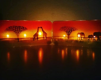 Fused Glass Giraffe or Elephant Sunset Tealight Holder, 3 tealight