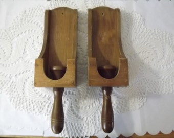 Rustic Wooden Wall Sconces/Candle Holders, Scoop-Style Hand Held Taper Holder, Primitive Lighting for Farmhouse Decor or Up Cycle