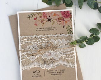 Rustic Lace Wedding Invitation, Floral Wedding Invitation, Modern Wedding Invitation, Shabby chic Wedding Invitation,
