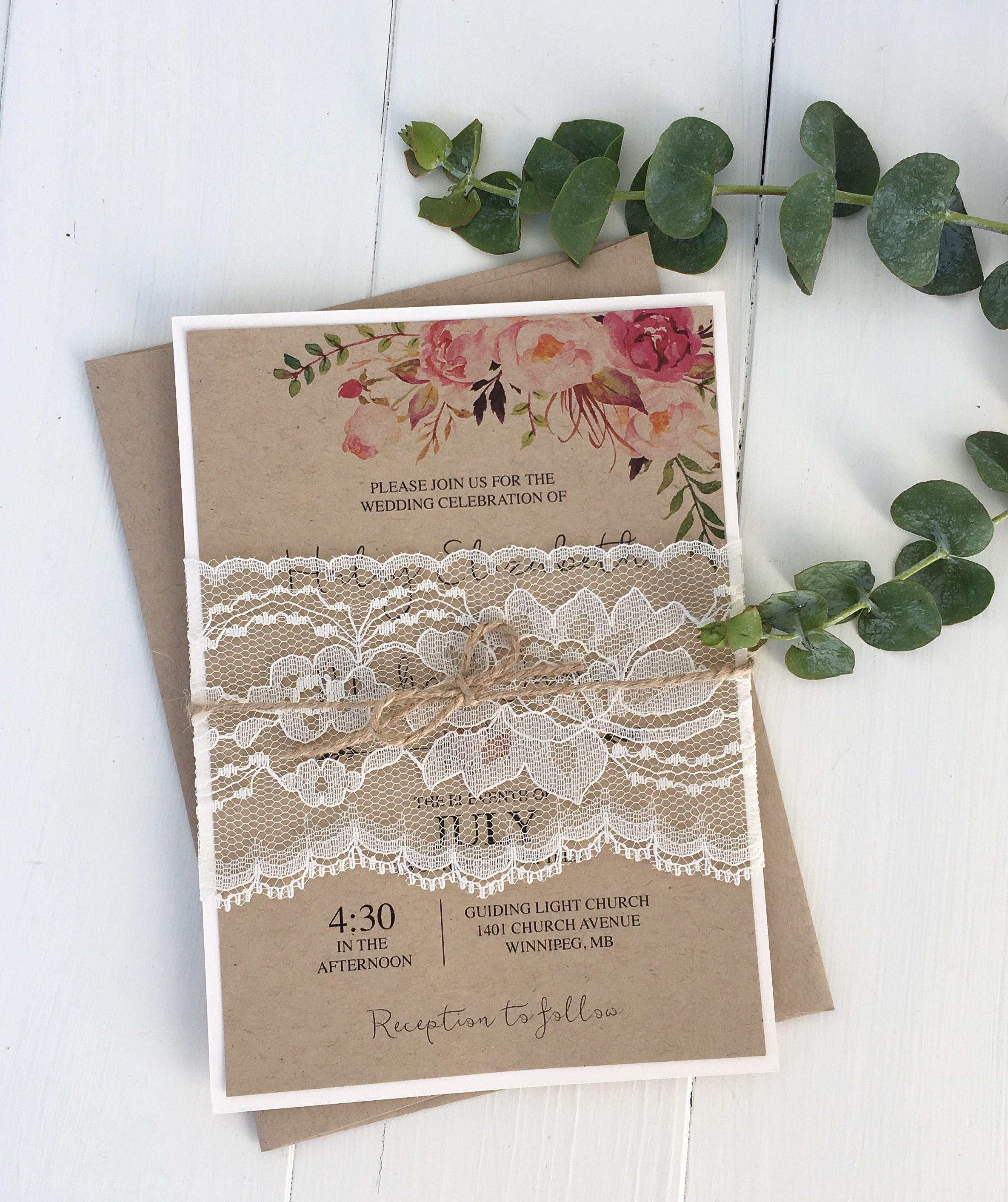 Rustic Lace Wedding Invitation Floral Wedding Invitation