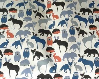 Curtain panel white blue orange wild animals Kids decor Modern Decor Cafe curtain Kitchen valance , runner , napkins available, great GIFT
