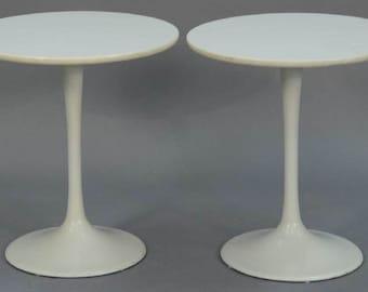 Pair Saarinen Style Tulip Tables