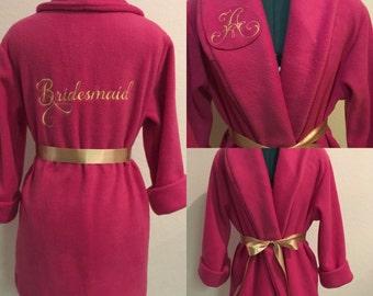 Bridesmaid Robe, Monogrammed Robe, Custom Robe, Fuchsia Robe, Short Robe, Personalized Robe, Fleece Robe, Fluffy Robe, Cozy Robe