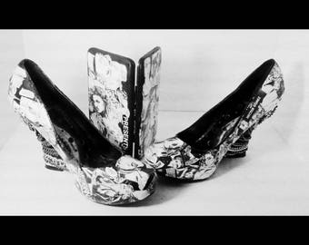 MADONNA  Shoes! One of a kind collage. Wedges with chains. Black and White.Matching wallet. Unique collectible. Size 10.