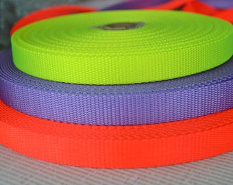 5 yards of 3/4 Inch 100% nylon webbing, gorgeous colors of neon orange, neon yellow and lavender.