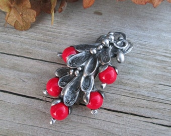 metal brooch with  red coral